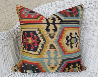 Southwestern Pillow Covers, Aztec Pillow, Southwestern Decor, Colorful Cushion, Tribal, Floor Pillows, 20, 22, 26, Tan Black, Red Blue Gold