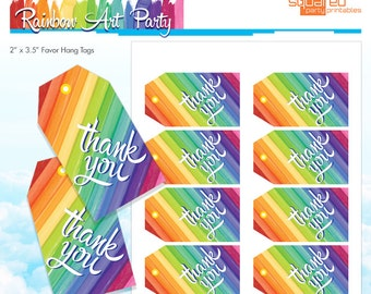 Rainbow Party Thank You Tags - Rainbow Art Party Favor Tags - Melted Crayon Art - Birthday DIY - Do-It-Yourself Printables Instant Download
