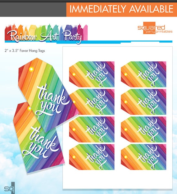 Rainbow party thank you tags rainbow art party favor tags melted rainbow party thank you tags rainbow art party favor tags melted crayon art birthday diy do it yourself printables instant download from solutioingenieria Images