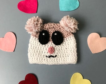 Hamster beanie hat! Crochet hamster hat, with eyes and pom poms, for all ages!