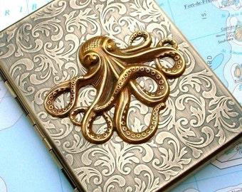 Metal Cigarette Case Brass Octopus Cigarette Case Nautical Steampunk Gothic Victorian Antiqued Brass Metal Wallet Oversized Card Holder