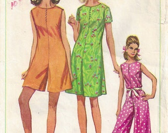 1960s Pantdress Collarless Palazzo Pant Legs Back Zipper Sleeveless Short Sleeves Ankle/Knee/Mini Length Simplicity 7139 Size 12 Bust 32
