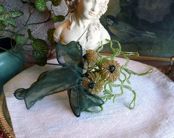 Beaded Flowers Mums Gold Green Bouquet Tied with Ribbon