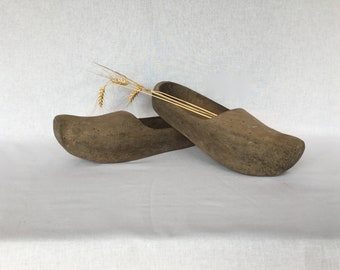 Antique wooden shoes Pair of old country wooden shoes vintage clogs France