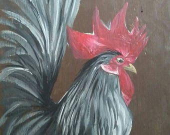 Original Rooster Painting on Pressure Treated Barn Wood Siding with Exterior Paints