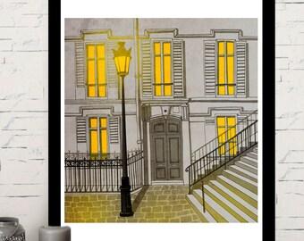 Paris Montmartre, illustration, home decor