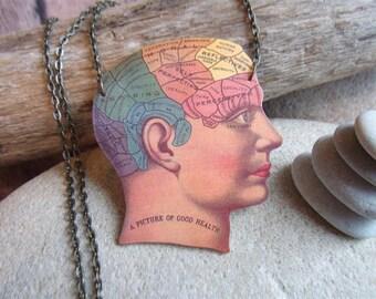 Phrenology head necklace vintage anatomy ephemera