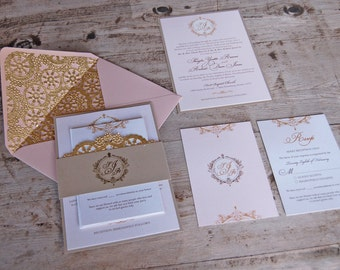 Blush & Gold Wedding Invitations, Victorian Wedding, Blush, Gold, Lace Wedding Invitations
