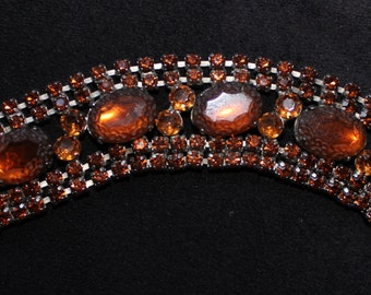 Vintage 1960's Wide Chunky Honey Amber Rhinestone Bracelet