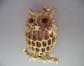 Vintage Signed Gerrys Goldtone Openwork Owl Brooch/Pin  Red Eyes