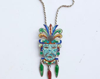 1960s Mexican silver and enamel jester pin pendant necklace / 60s vintage Taxco Mexico blue green stained glass sterling harlequin brooch