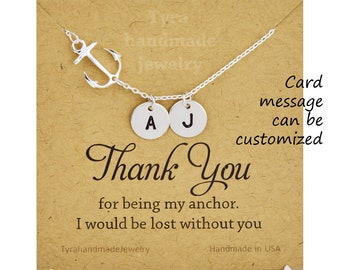 Entire sterling silver Anchor Necklace,sideways Anchor,Personalized initial anchor,Sailors Anchor,Wedding Jewelry,Bridesmaid gifts,daily Jew