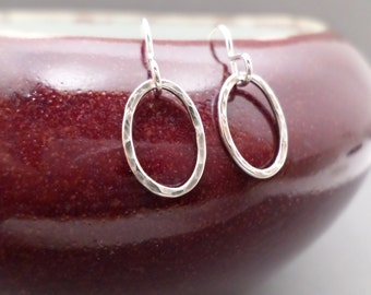 """Tiny Silver Earrings. Free Shipping. Hammered Silver Hoop Earrings. Sterling Silver Oval. Blackened Oxidized. Simple Rustic Jewelry. 1/2"""""""