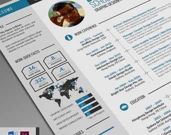 Creative Resume Template / CV Template Word + Cover Letter   2 Infographic Resume Template Design   Resume Template with Tutorial Videos