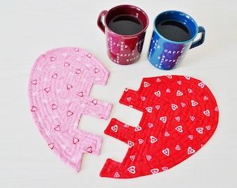 Broken Heart mug rugs PDF sewing pattern - heart sewing pattern - valentine sewing pattern - instant download sewing pattern
