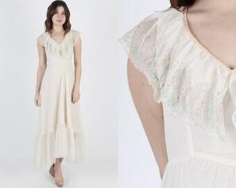 Jessica McClintock Dress Gunne Sax Dress Boho Wedding Dress Vintage 80s Ivory Lace Floral Bridesmaids Embroidered Bridal Maxi Dress S