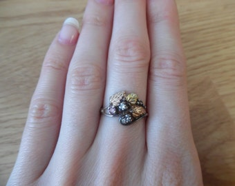 Black Hills 12k rose gold and sterling silver tri-color Leaf Ring 6 1/2