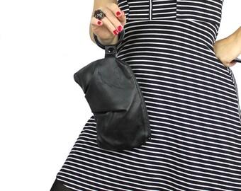 Black Leather Bracelet Handbag Wristlet with 3 Plastic Bracelets