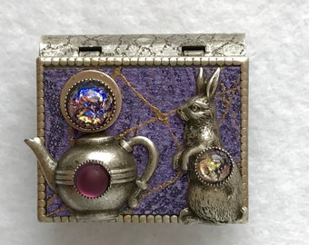 Book Pin-Rabbit jewelry-Teapot Jewelry-Purple-Silver-miniature book-vintage style-pin