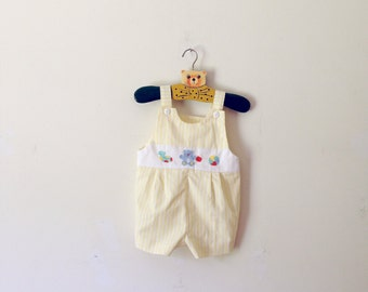 Vintage Yellow Striped Embroidered Shortalls (Size 6/9 Months)