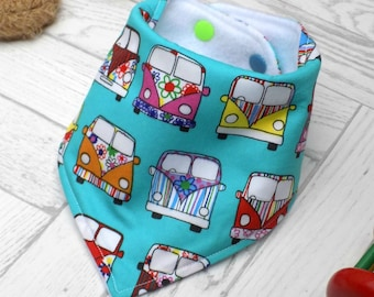 bandana bib, dribble bib, campervan, new baby gift, drool catcher, baby bib, new baby gift idea, baby boy, baby girl, baby accessories
