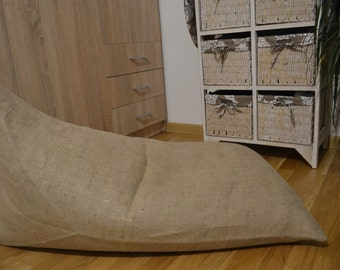 Burlap pouf with coffee smell, Floor cushion, Poof, Bean bag chair,  Footstool, Rustic pouf, Coffee bag, Coffee sack, Café Chair