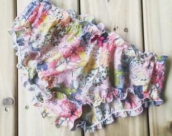 Low rise bikini, cotton satin panties, floral satin underwear