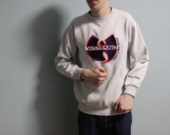 WU WEAR sweatshirt, vintage hip hop jacket sewn, official authentic Wu Tang Clan, 90s hip-hop clothing, 1990s OG, gangsta rap, size M Medium