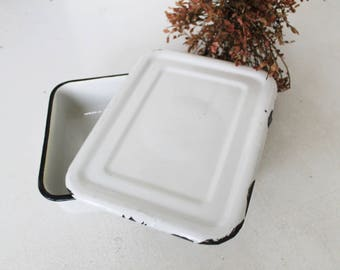 Vintage Enamelware Refrigerator Box White Enamel Box with lid Kitchen Storage Box Retro Farmhouse Made in USSR Cottage Country Chic