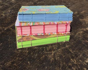 Coptic Bound - Mini Journal - Art Book - Smashbook - Dream Journal - Pocket Sized - Pink - Blue - Green
