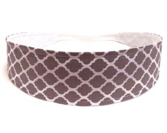Reversible Fabric Headband   - GREY QUATREFOIL  -  Headbands for Women