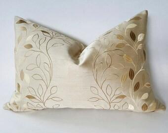 Gold Pillow, Leaf Pillow, Cream Pillow, Embroidered Pillows, Cream Pillow Cover, Lumbar Pillow, Beige Throw Pillow, Gold Leaf Pillows, 16x26