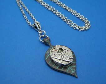 Upcycled Steampunk Watch Movement Pendant Necklace