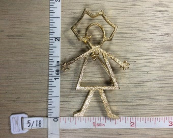 Vintage Gold Toned Pin Brooch Outline Female Figure Dangling Heart Used