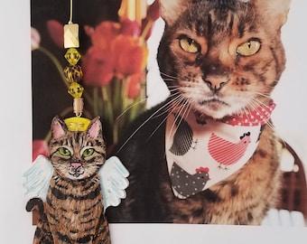 Cat Angel - Custom Cat Ornament - Cat Memorial Ornament - Custom Cat Portrait - Sitting Cat Angel Ornament - Pet Loss Gift
