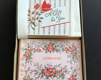 Vintage greeting card set, by Quaint shop, pink box