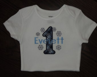 Winter One-derland First Birthday Snowflakes Personalized Bodysuit 1st (2nd also available) Winter Onderland Wonderland