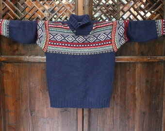 Handknit Blue Cableknit Wool Sweater
