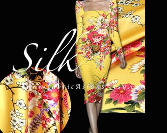 Yellow Silk Charmeuse Kimono Fabric by the yard