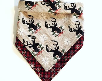 Holiday | Christmas | Dog Bandana | Cat Bandana | Tie On Bandana | Snaps | Reversible | Plaid | Snowflakes | Cowboy Boots | Deer