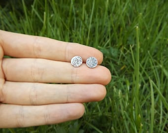 Achillea Millefolium - Yarrow - Fine Silver and Sterling Stud Botanical Earrings- by Quintessential Arts