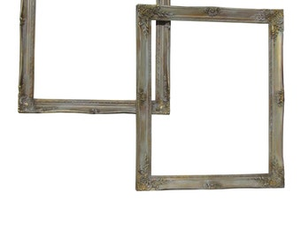Pair Vintage Gilt Painted Frames  French Frames Farmhouse Frames Painted Distressed Wall Frames