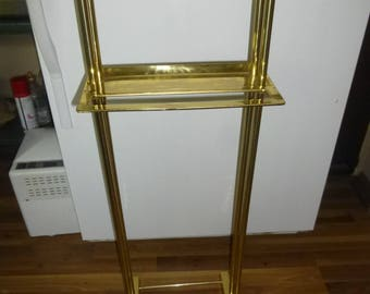 Clothing Valet - Large Mid Mod Solid Brass Form - Unusually Rugged and Sturdy - Stylish Streamlined Modern Decor w/ shelf