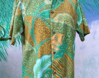 1/2 OFF Vintage 1960's Paradise Hawaii, Men's Short Sleeve Green & Gold Tropical Hawaiian Shirt, size M