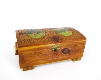 Carved Cedar Jewelry Box - Landscape panel engraved wood trinket box