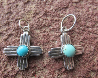 New Mexico Zia Cross Sterling Silver Kingman Sleeping Beauty Turquoise Pendant Charm Cowgirl Necklace