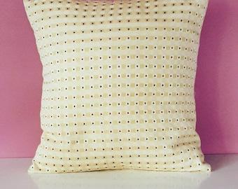 Unique, handmade cream geometric patterned cushion cover
