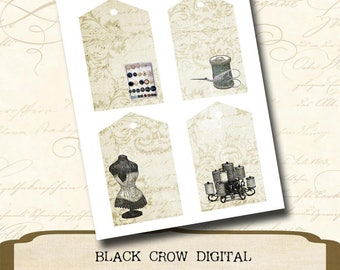 Vintage Sewing Printable Hang Tags, Buttons, Thread, Scissors, Corset; For Gifts, Paper Crafts, Scrapbooking or Mixed Media