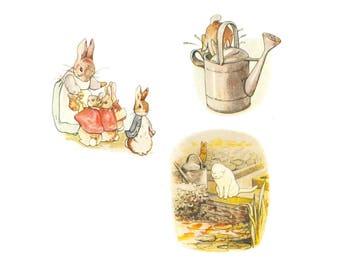 Digital Collage Sheet, Peter Rabbit images, Printable PDF, DIY Nursery Crafts,  Digital Download, Beatrix Potter PIctures
