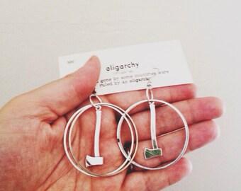 hoop earrings | silver axe earrings | ax axe jewelry | portland timbers | portland oregon